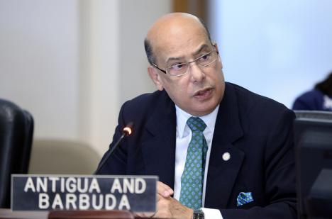 Sir Ronald Sanders, Permanent Representative of Antigua and Barbuda to the OAS, addressing the Permanent Council