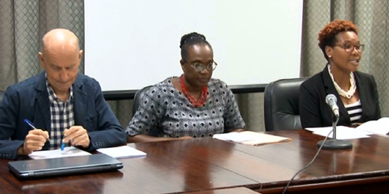 From left: EU Delegate Andrea Serpagli, Permanent Secretary in the Ministry of Foreign Affairs, Trade and Commerce Sandy Peters-Phillips, and Director of Trade Okolo John-Patrick. (Photo: API)